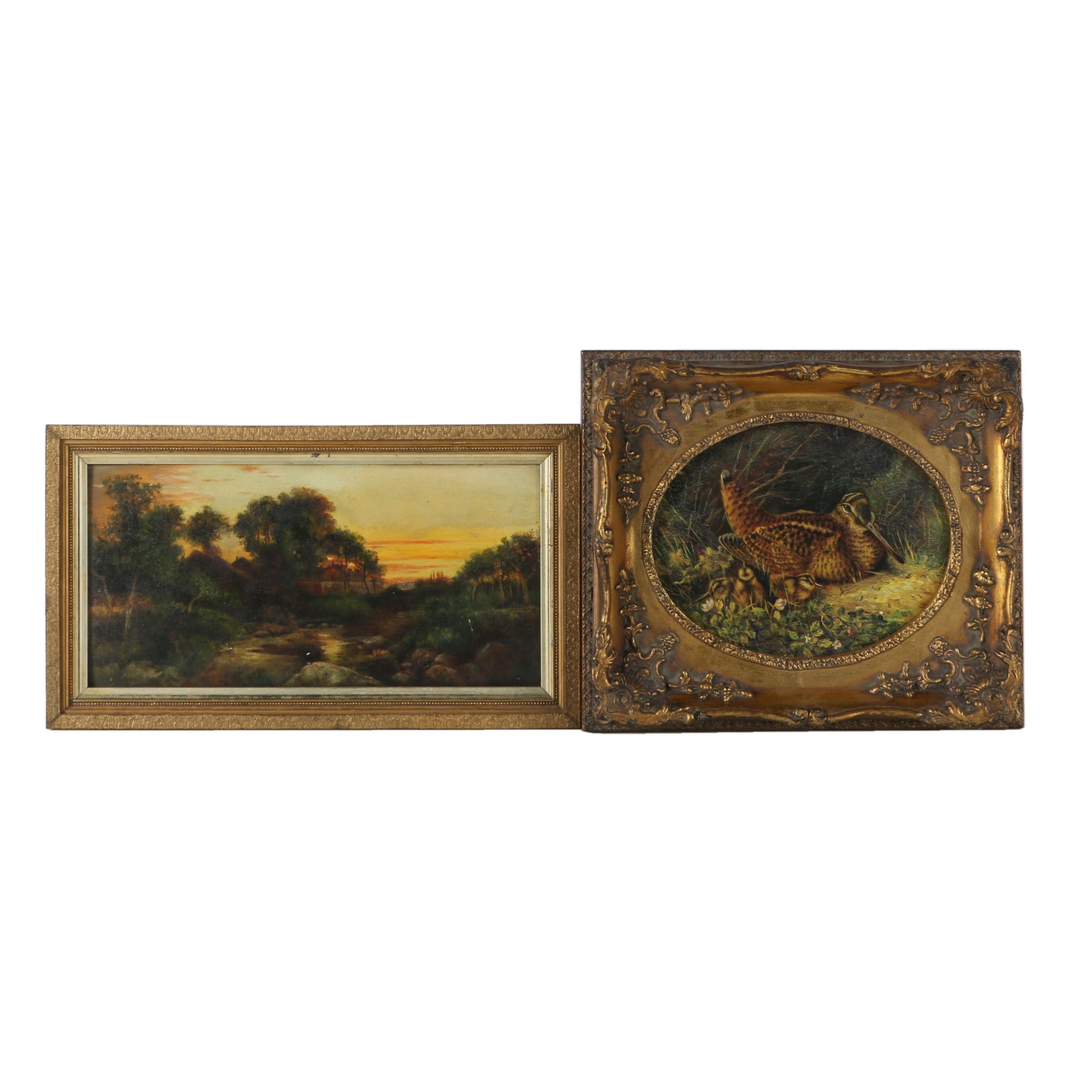 Oil Painting on Panel of Landscape with Offset Lithograph of Birds