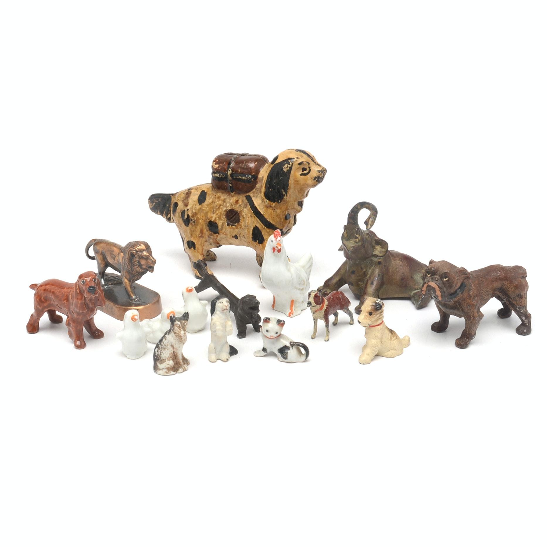 Vintage AC Williams Cast Iron Newfoundland Dog Bank and Figurines