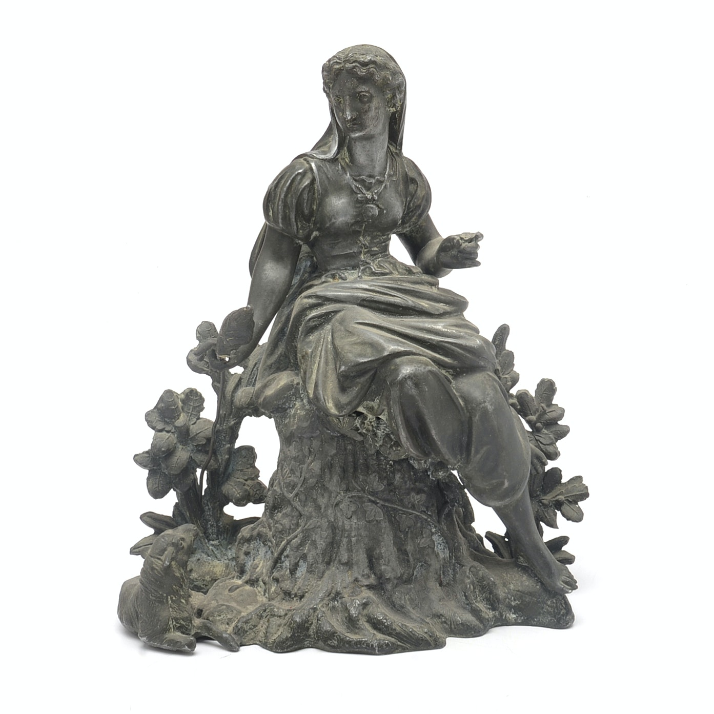 Cast Metal Sculpture of Seated Woman