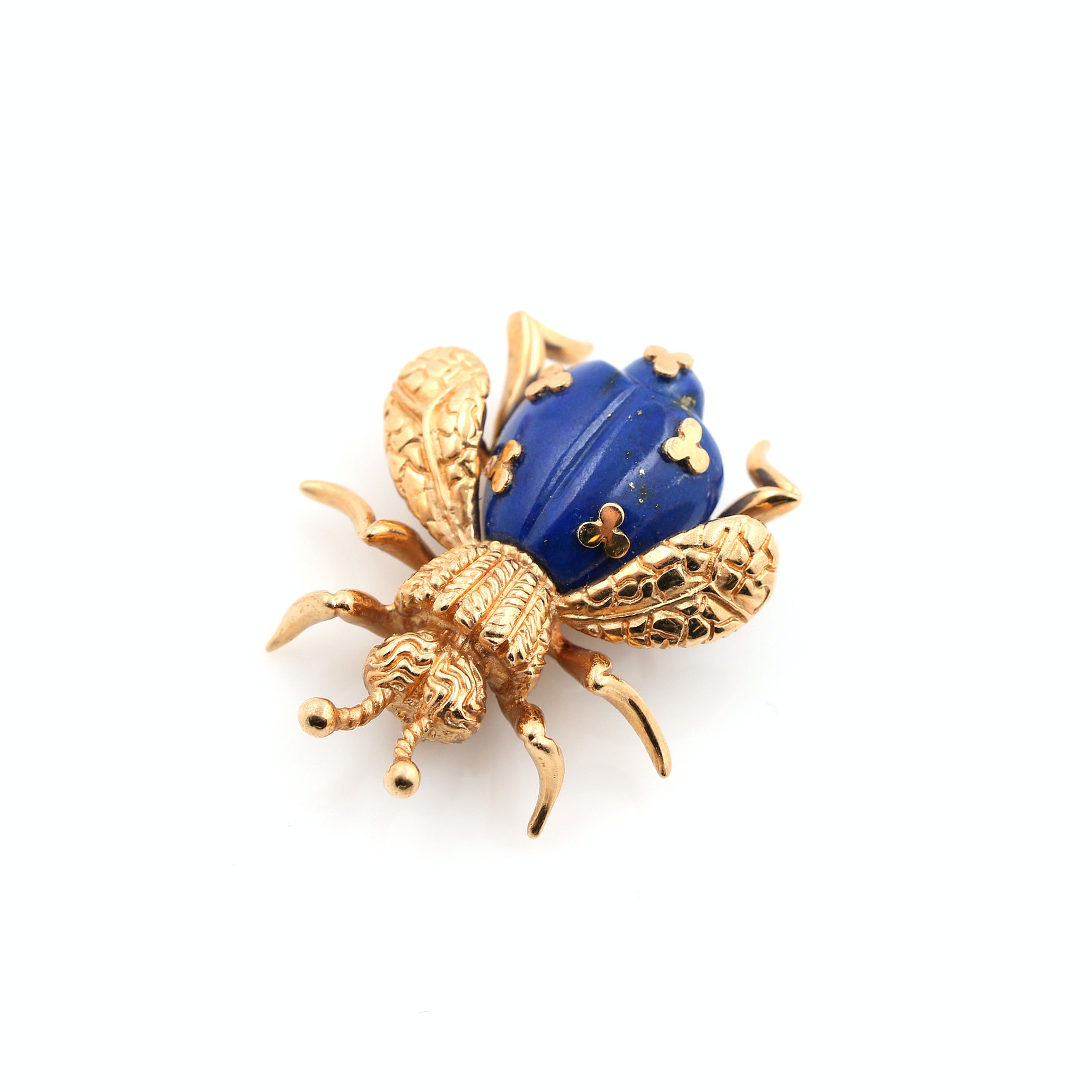 14K Yellow Gold Lapis Lazuli Bumble Bee Brooch