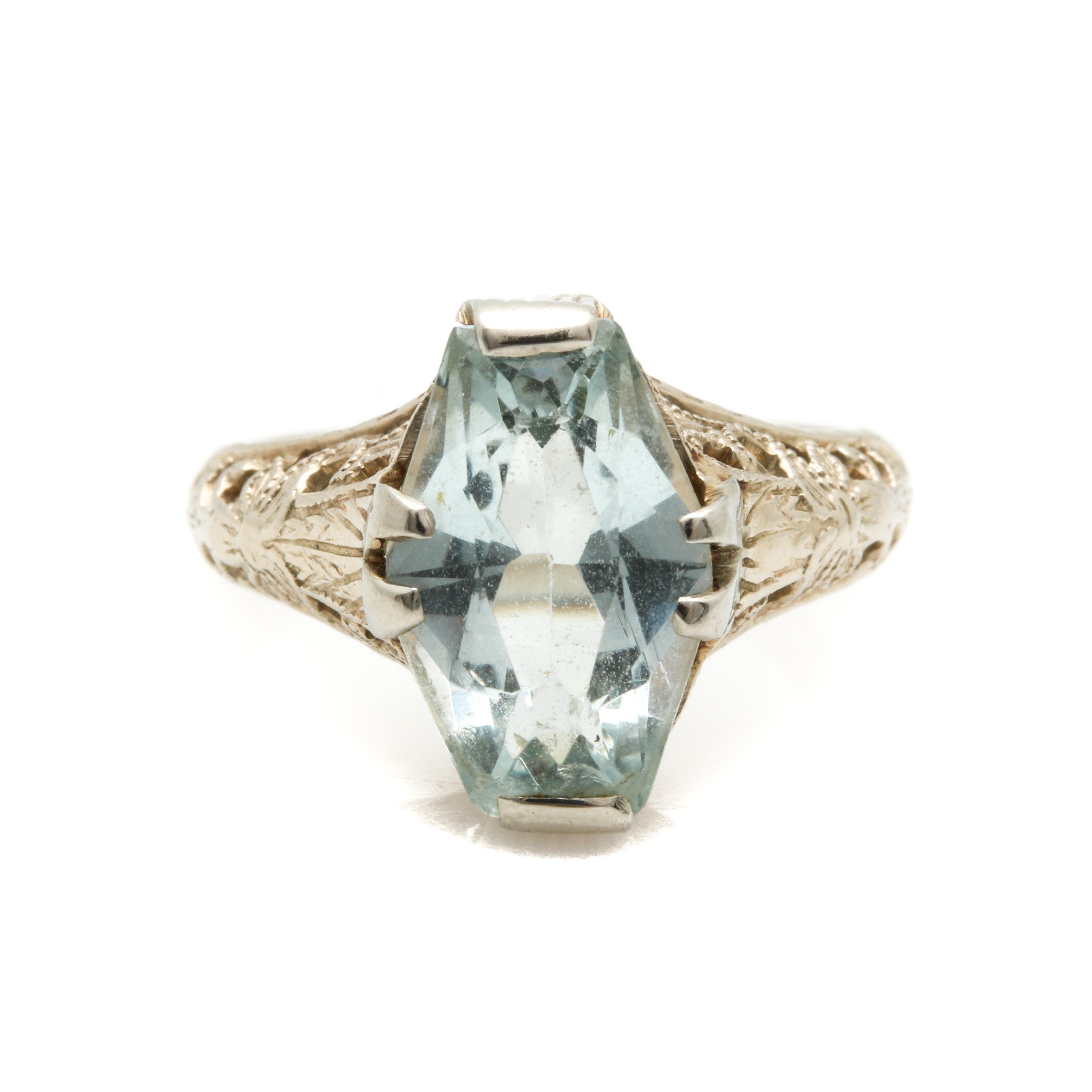 14K White Gold Aquamarine Filigree Ring