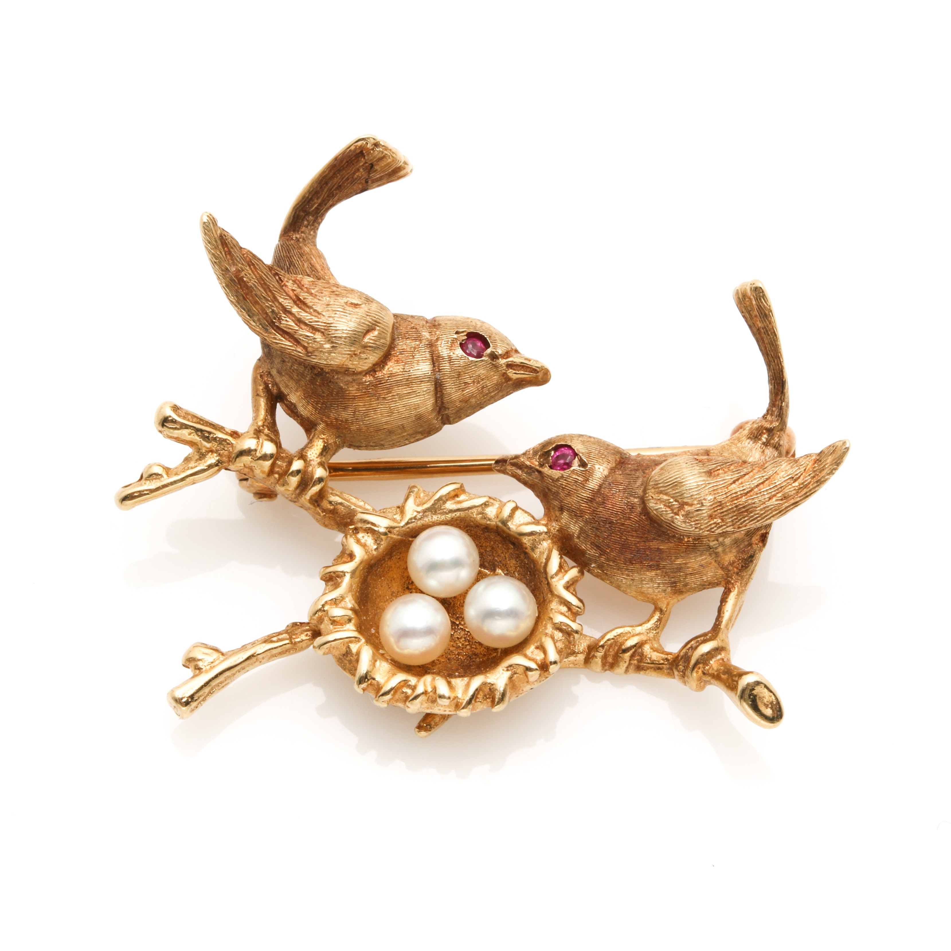 14K Yellow Gold Cultured Pearl and Ruby Bird Nest Brooch