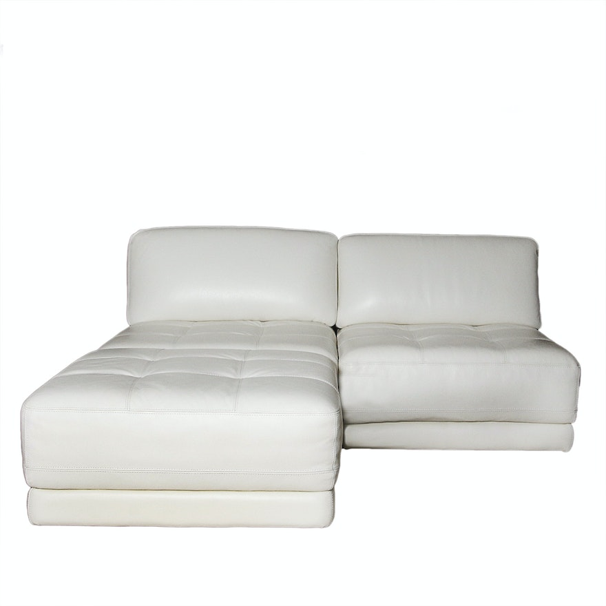 Italian Leather Modular Loveseat And Ottoman By Chateau D