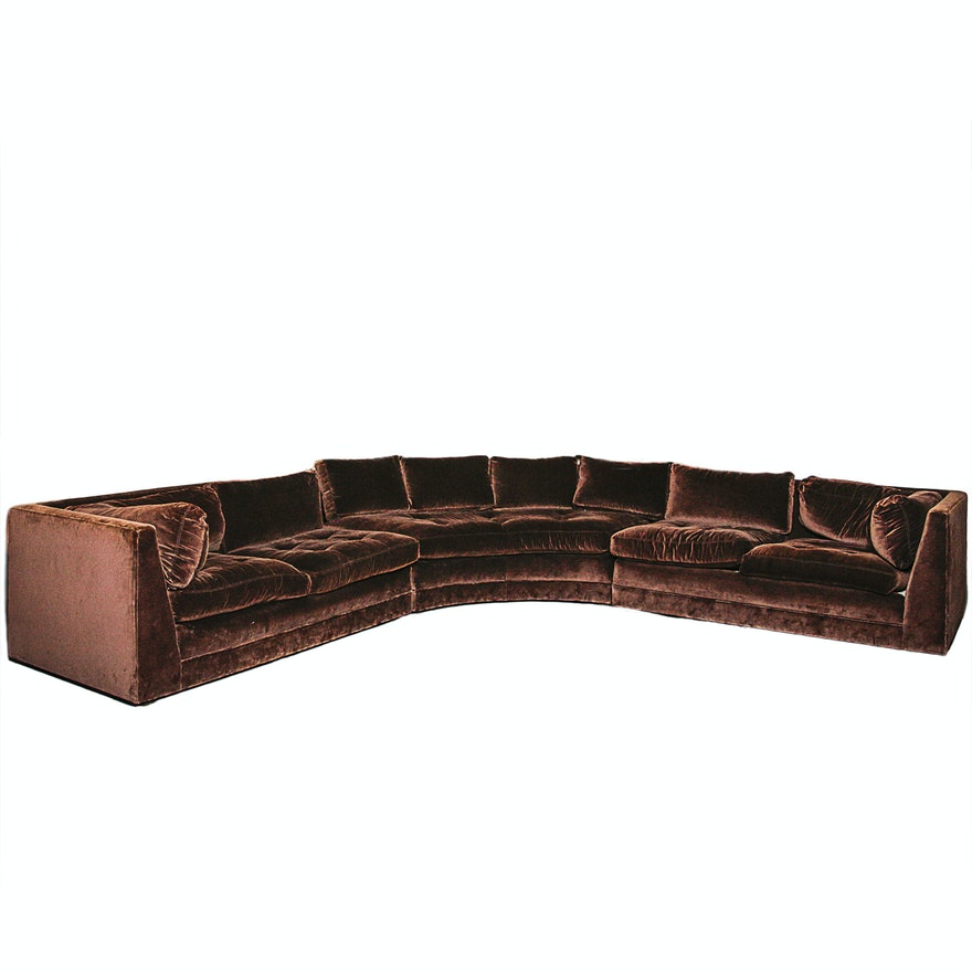 Chocolate Brown Velvet Upholstered Sectional Sofa