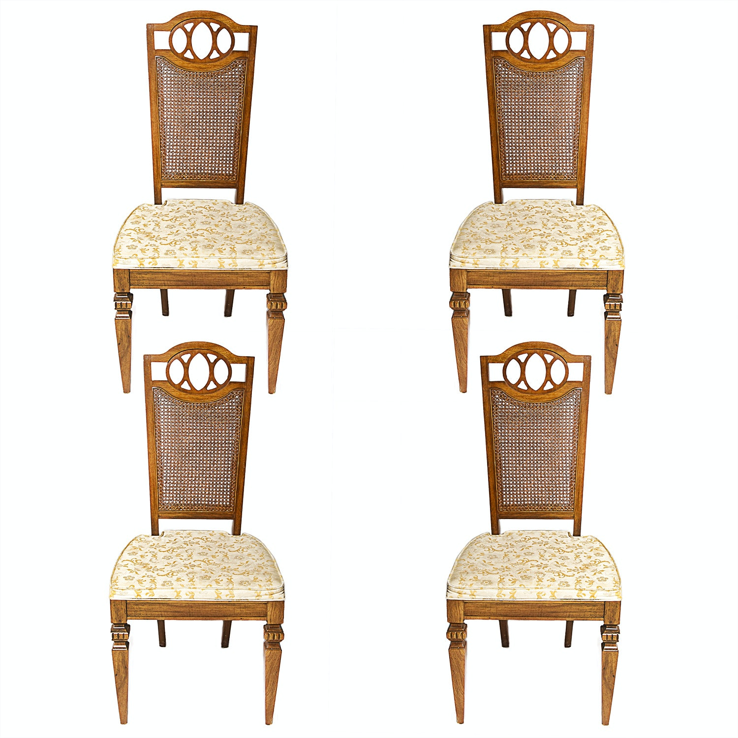 Set Of Four Mediterranean Oak And Cane Dining Chairs ...