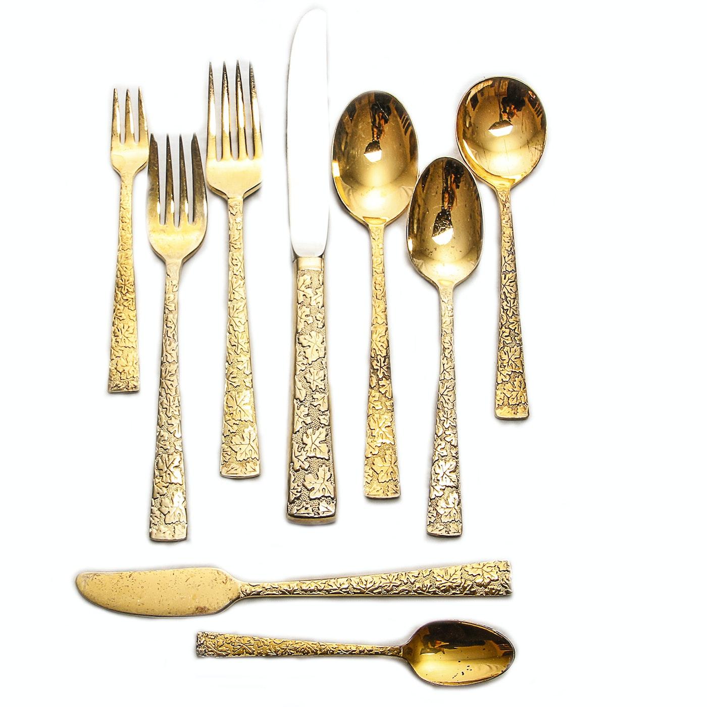 International Silver Co Gold Toned Flatware Set Ebth