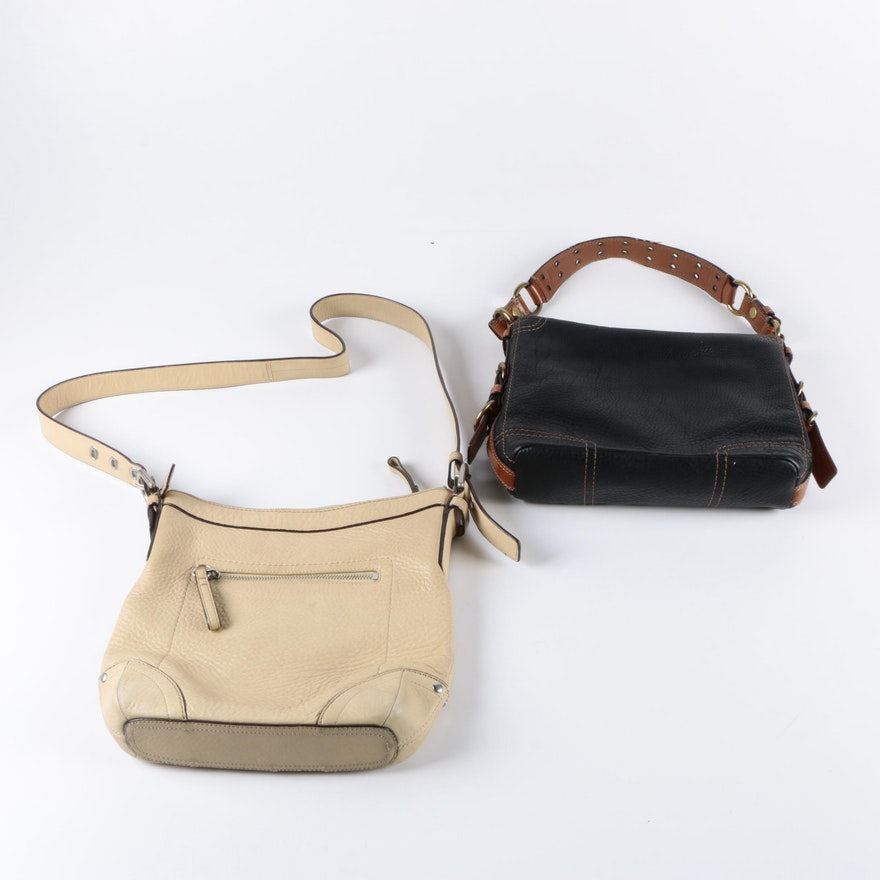 Coach Black And Ivory Leather Handbags