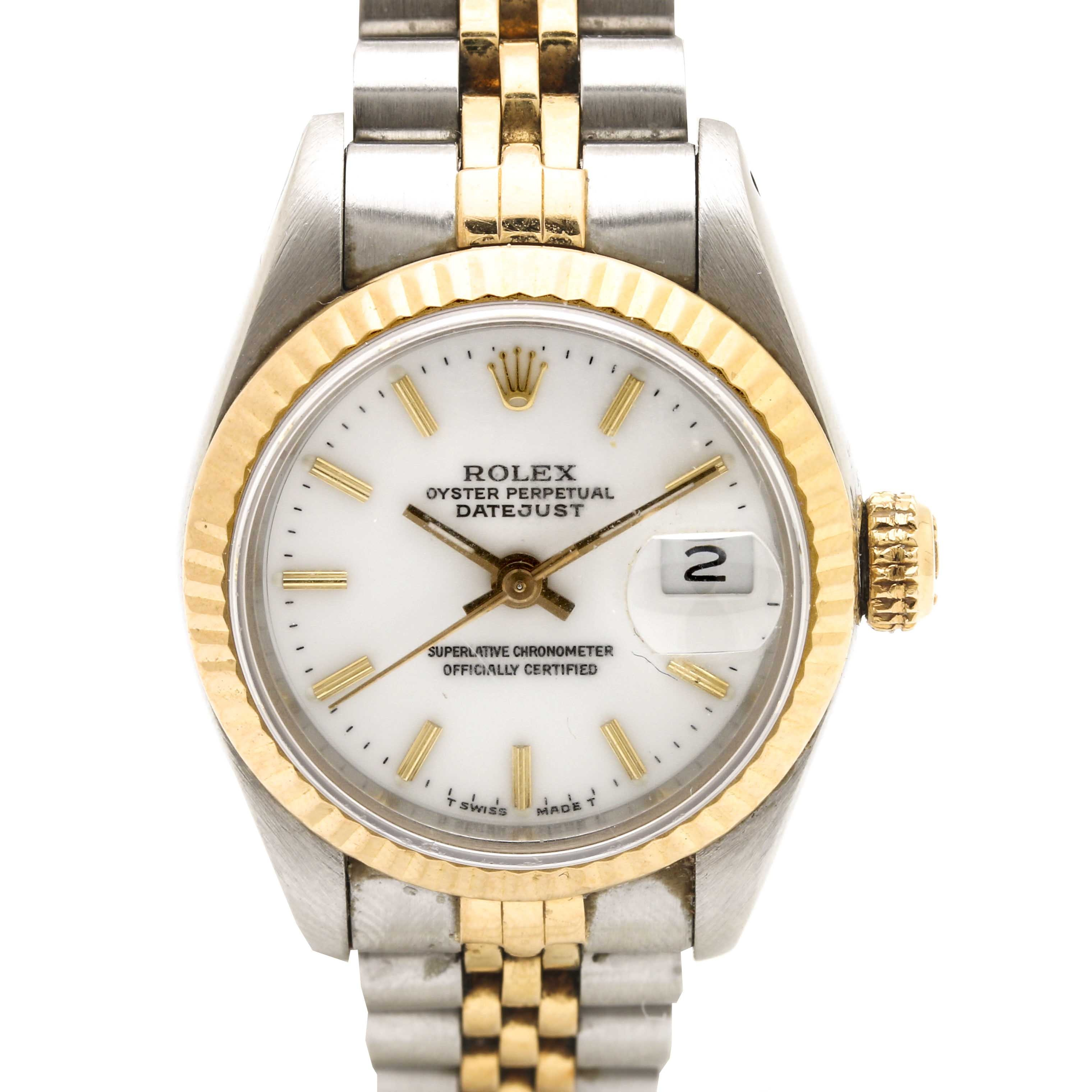 Rolex Oyster Perpetual Datejust 18K Yellow Gold and Stainless Steel Wristwatch