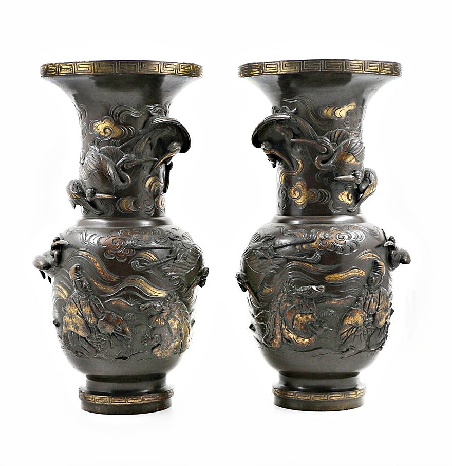 Pair of Japanese Late Meiji Period Bronze Vases with Cranes and Court Nobles