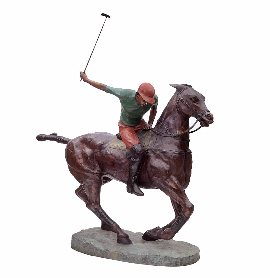 Contemporary Life-Sized Bronze Statue of an English Polo Player on Horseback