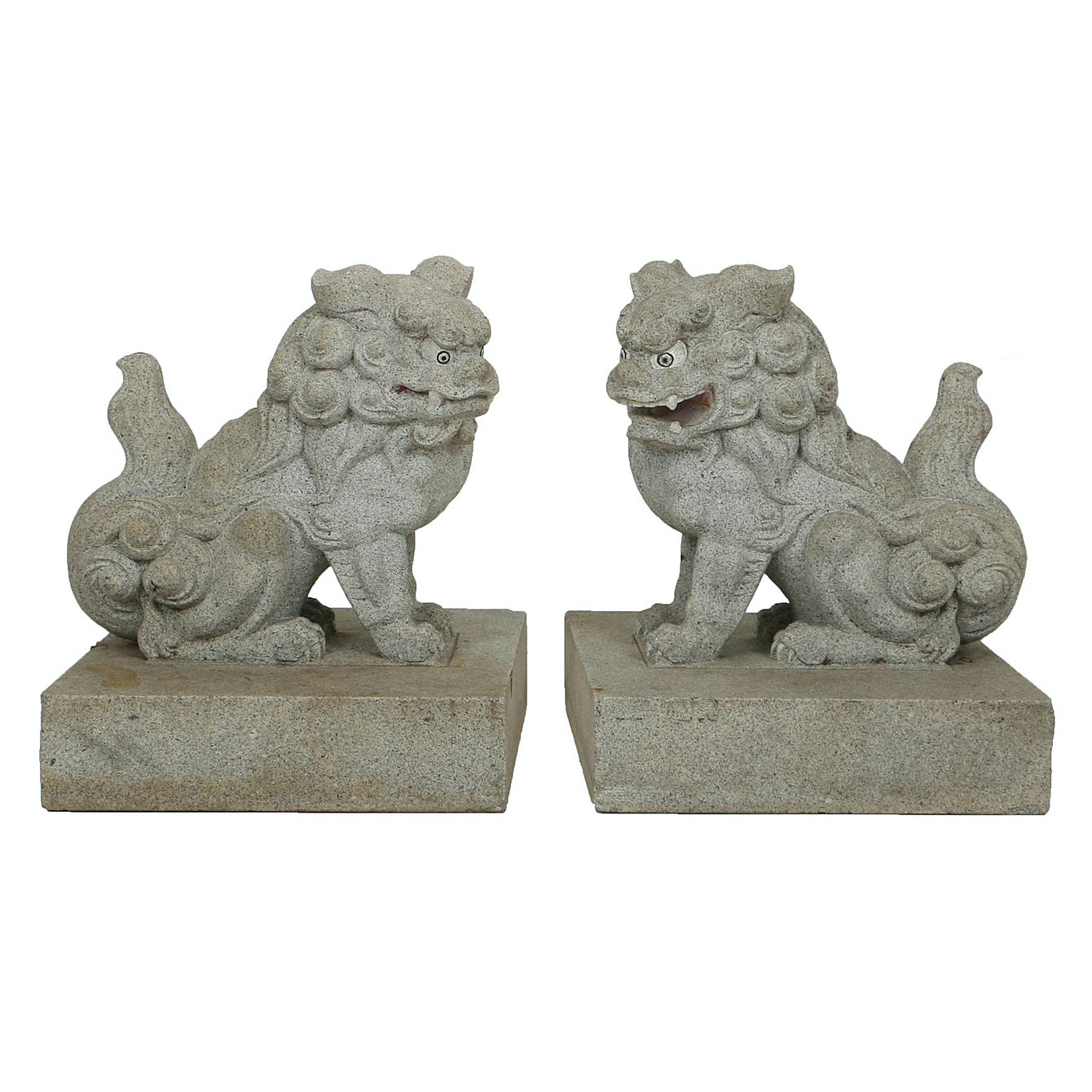 Chinese Style Carved Granite Quot Sh 237 Shī Quot Guardian Lions Ebth