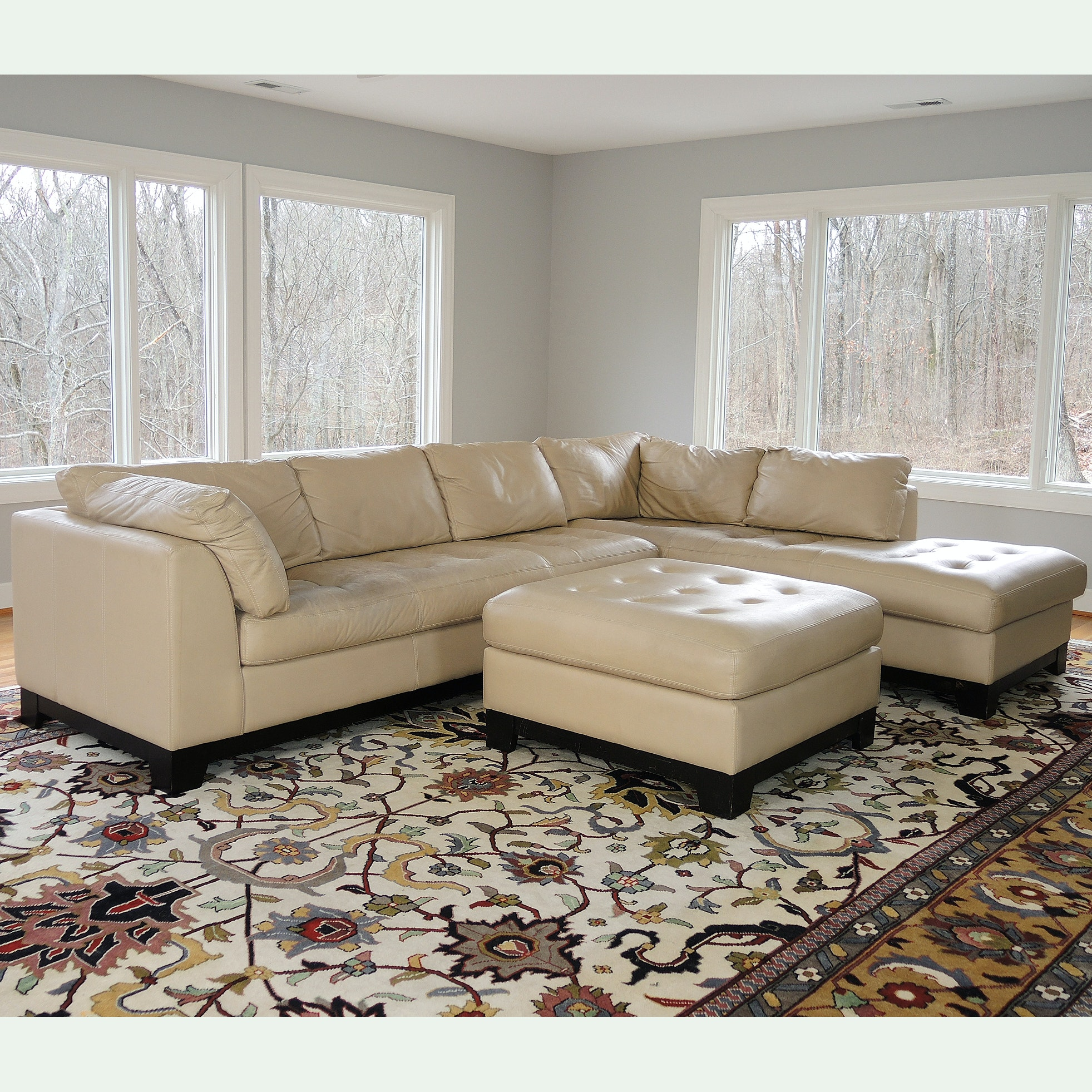 Leather Sectional Sofa, Chaise and Ottoman