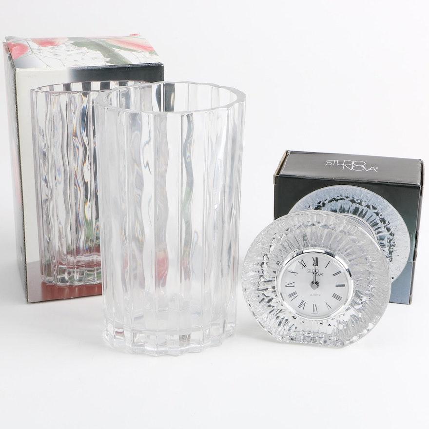 Studio Nova Crystal Shelf Clock And Vase Ebth
