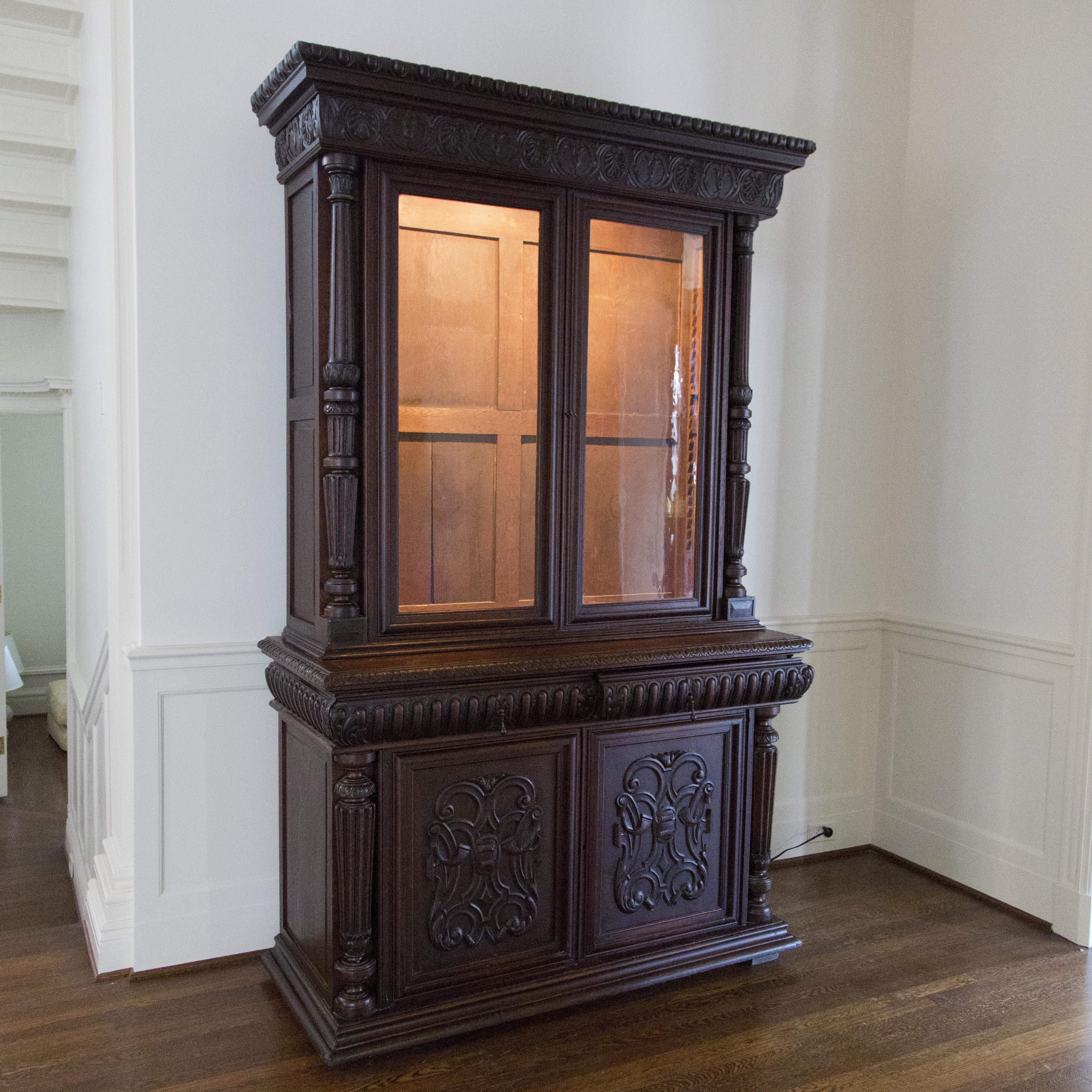 Antique Italian Renaissance-Revival Oak Bookcase on Cabinet