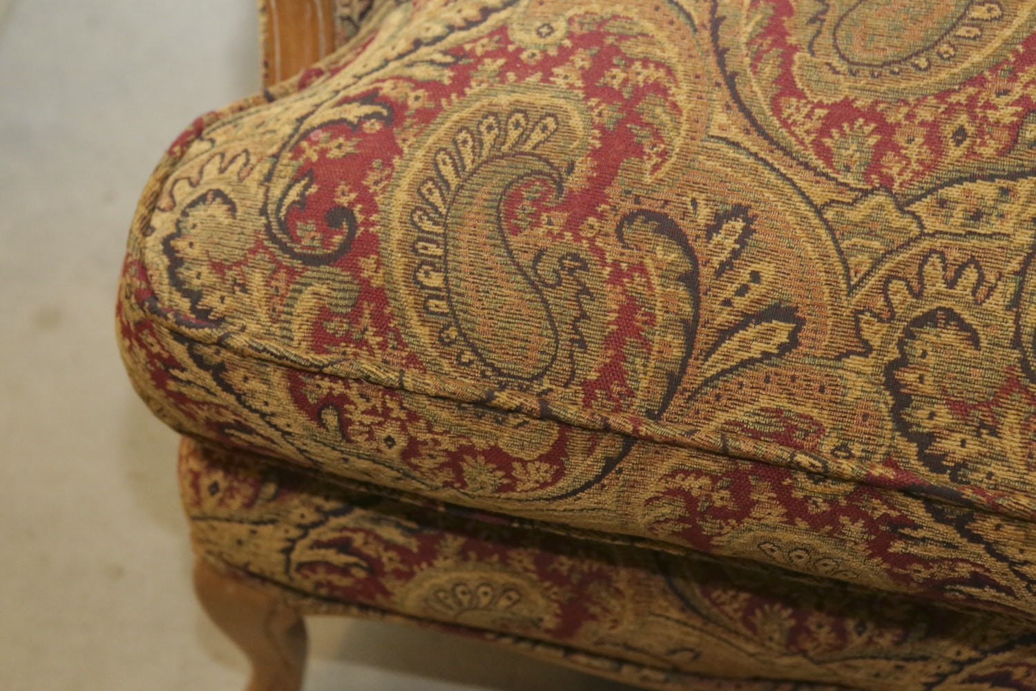 Louis Xv Style Upholstered Wingback Armchair Ebth