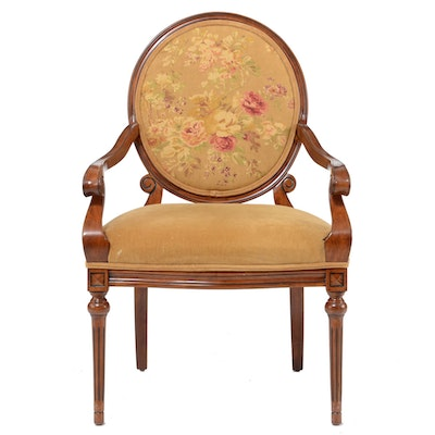 Walnut Floral on Tan Armchair. Online Furniture Auctions   Vintage Furniture Auction   Antique
