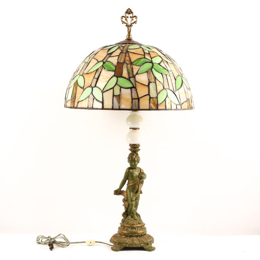 Cherub Tiffany Style Table Lamp