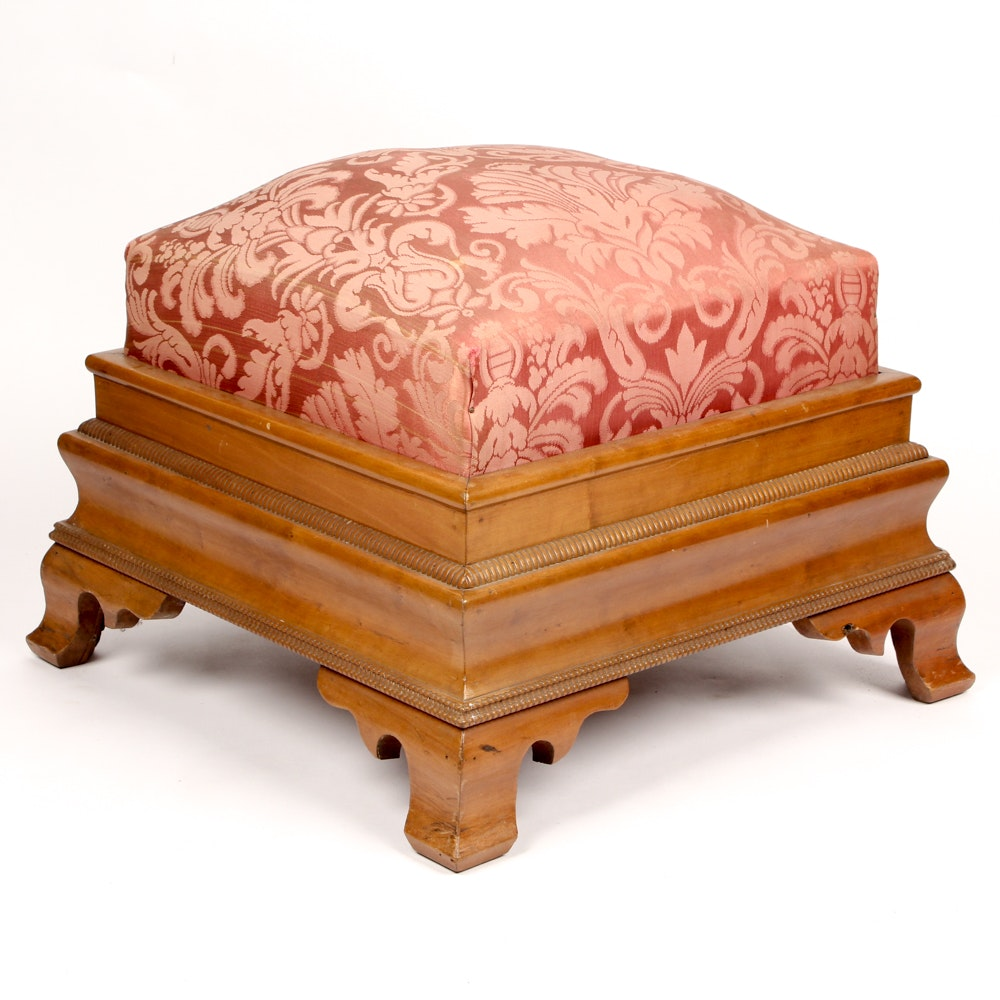 Antique American Empire Cherry Footstool