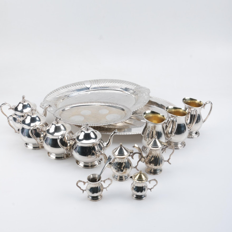"""Wm A Rogers Silver Plate Marks: Wm Rogers """"Wellington"""" Silver Plate Tray And Assorted"""