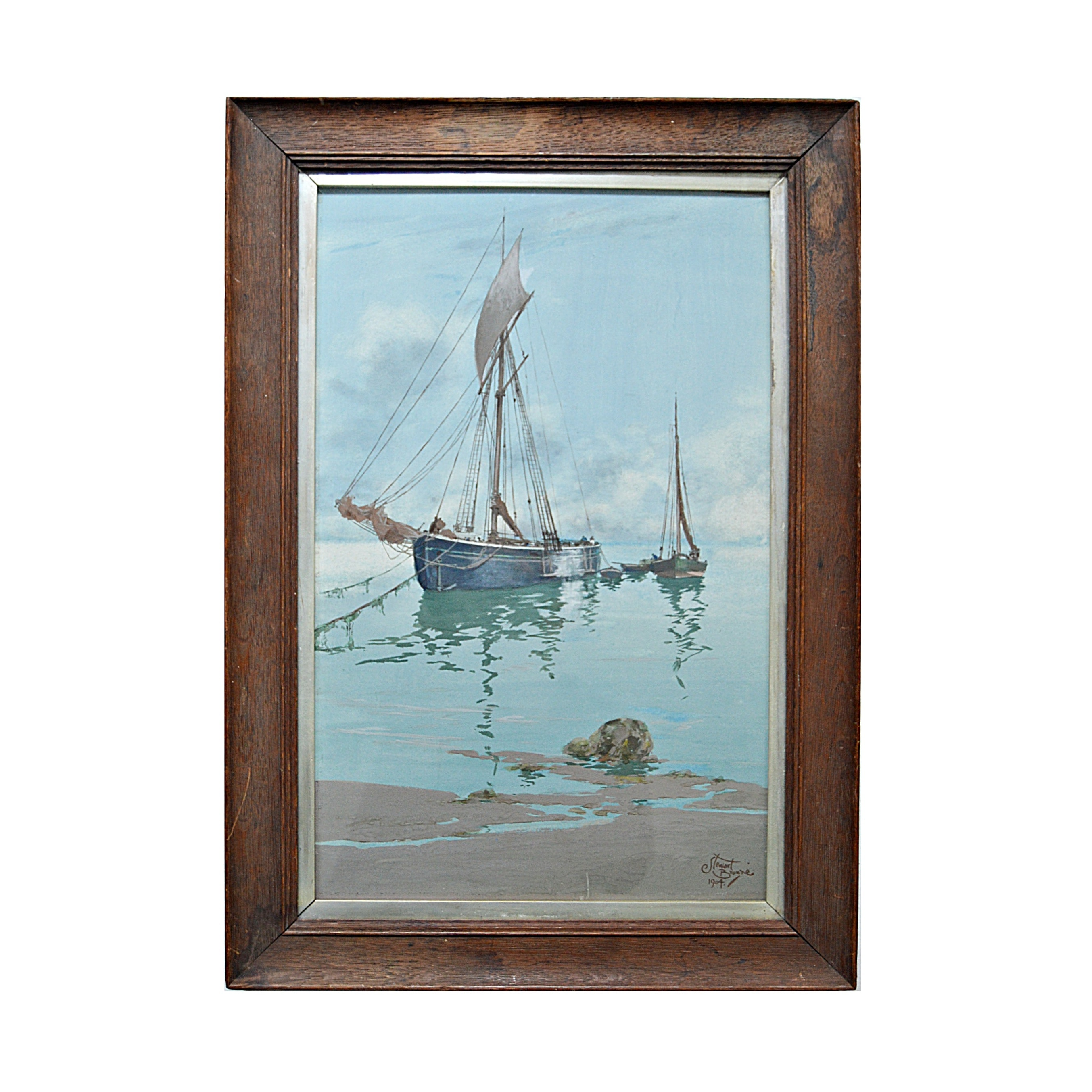Stewart Browne 1904 Maritime Gouache on Board