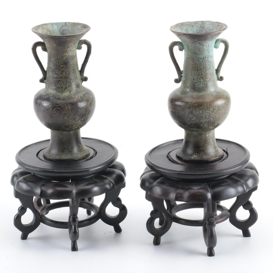 East Asian Bronze Vases With Wooden Stands Ebth