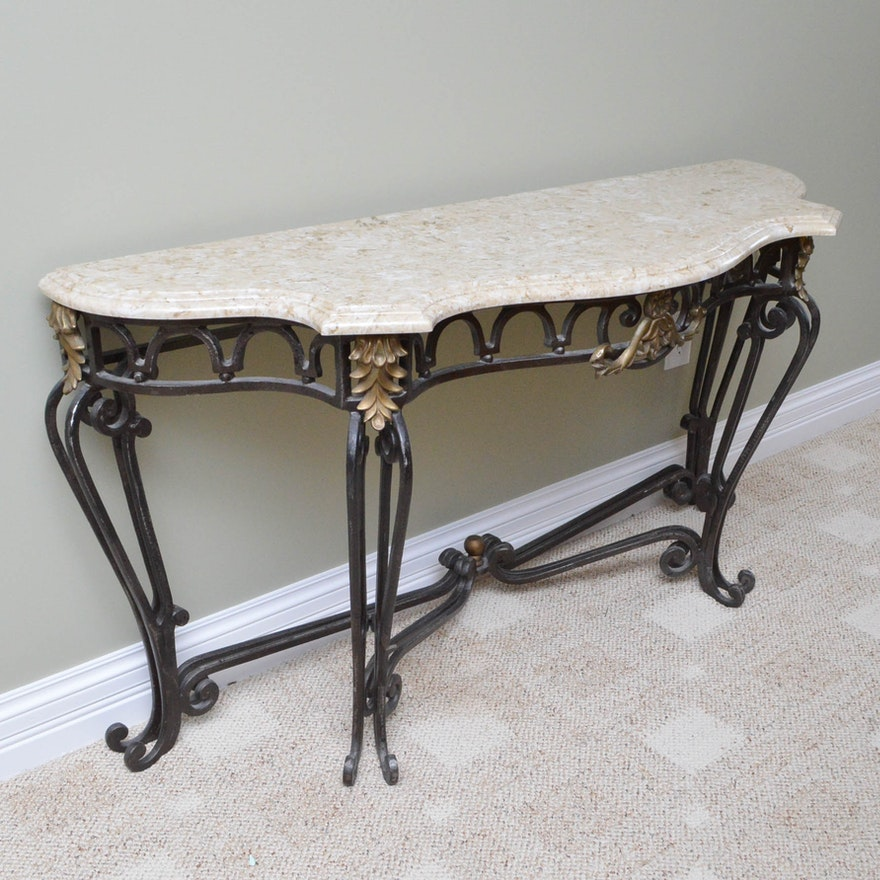 Stone Console Table: Scrolled Metal Console Table With Stone Top