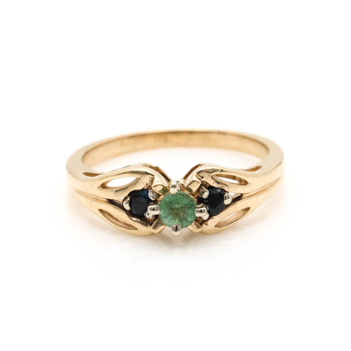 14K Two Tone Gold Emerald and Sapphire Ring EBTH