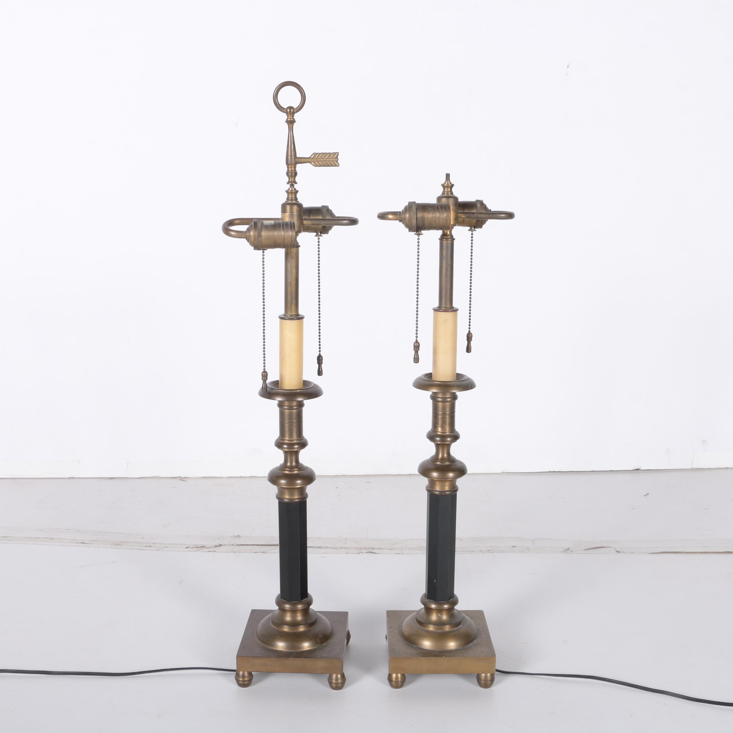 Pair Of Metal Double Bulb Table Lamps Ebth