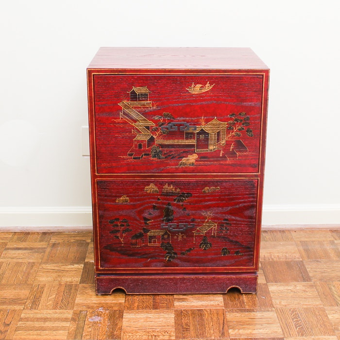 Chinoiserie Stained Oak Filing Cabinet