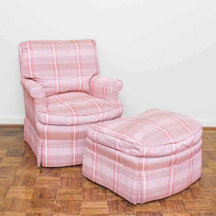 Plaid Club Chair with Ottoman