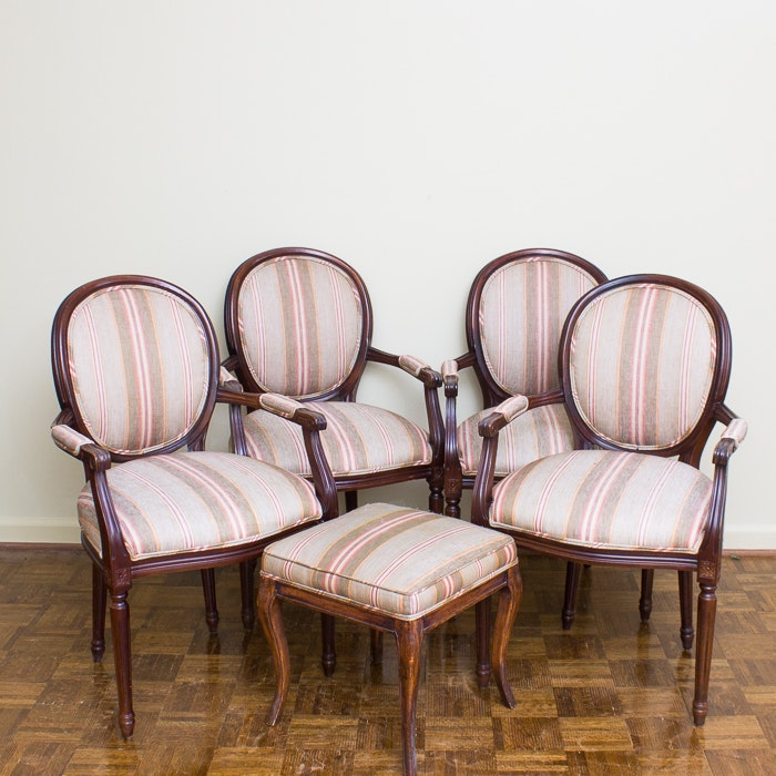 Set of French Style Dining Chairs with Ottoman