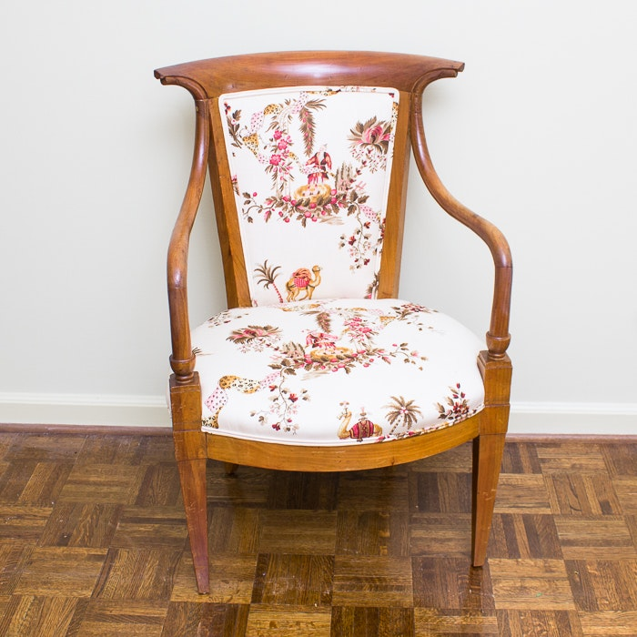 Empire Style Beech Upholstered Chair