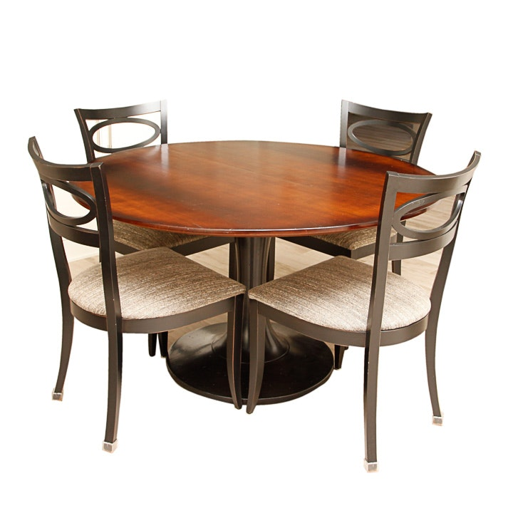 Arhaus Furniture Round Cherry Dining Table And Four Chairs Ebth