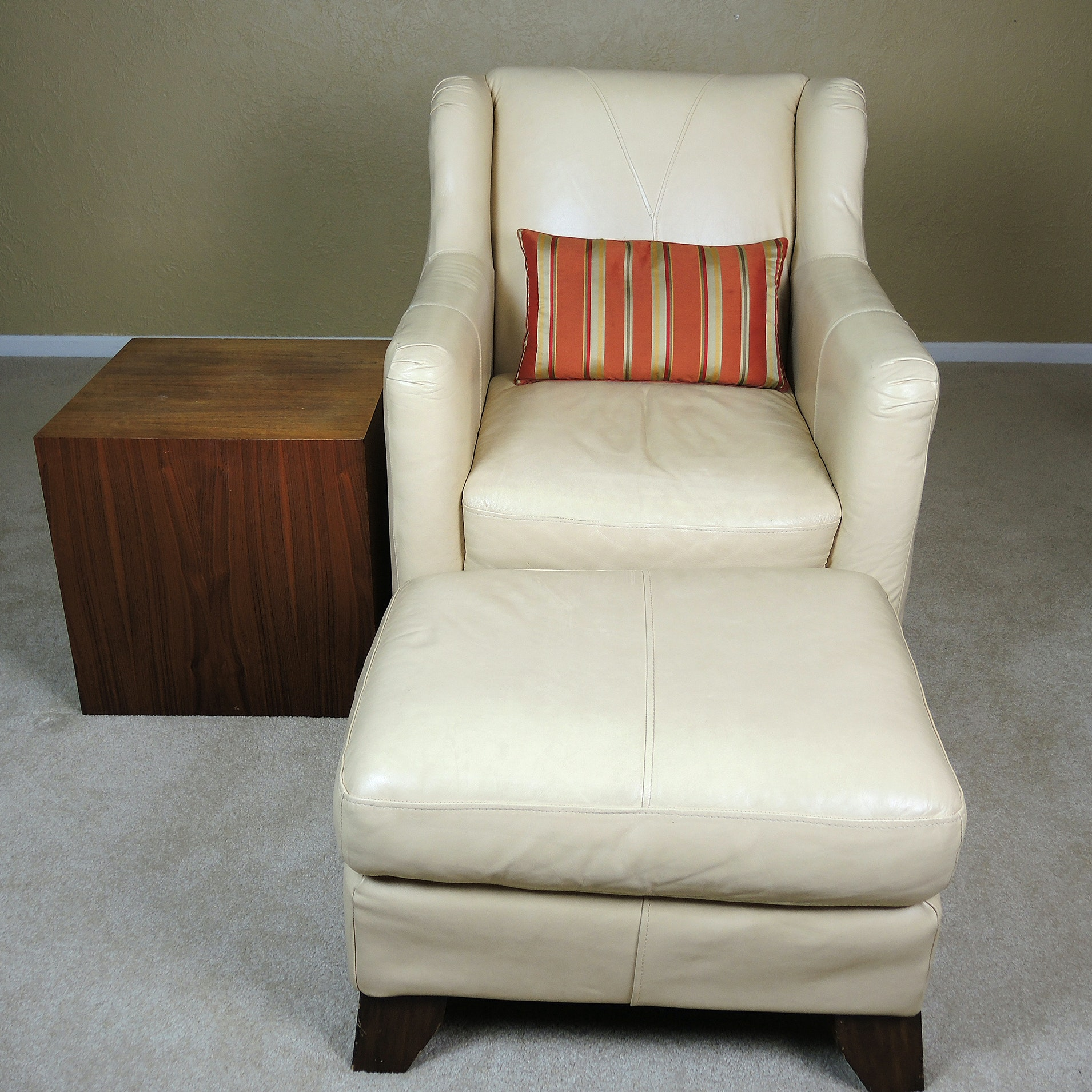 Contemporary Leather Arm Chair with Ottoman and Cube Side Table