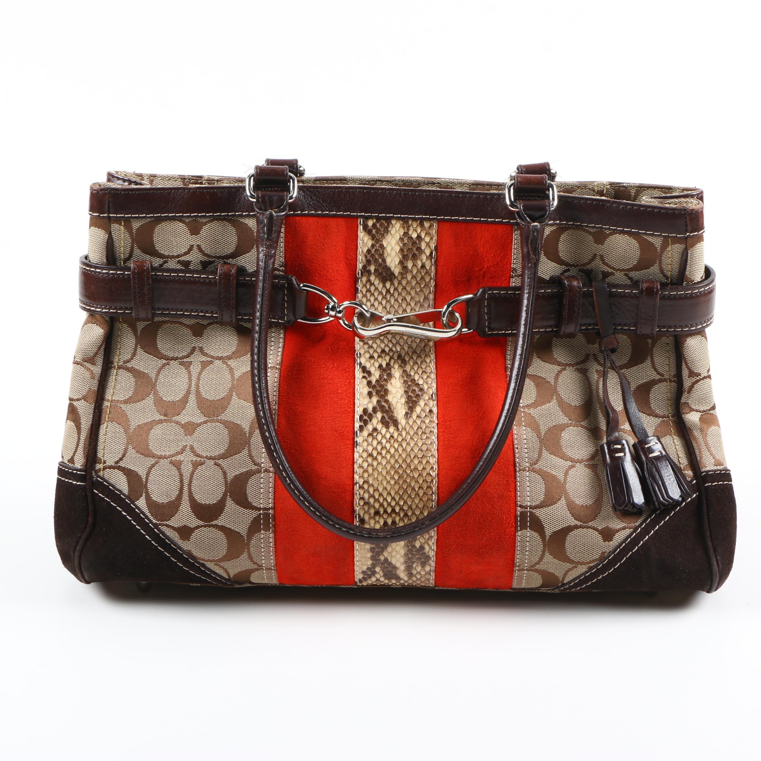 Coach Hamptons Signature Stripe Python Handbag Vintage Designer Handbags  Purse Auctions In Fashion Home