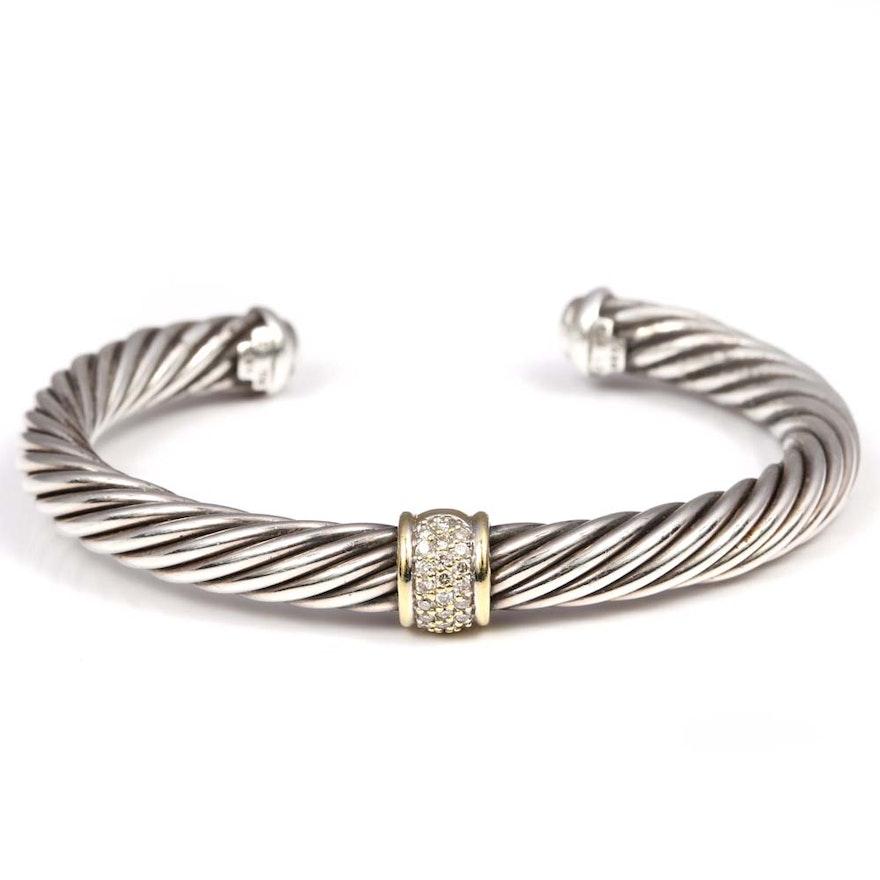 David Yurman Sterling Silver Diamond Accents Cable Cuff Bracelet