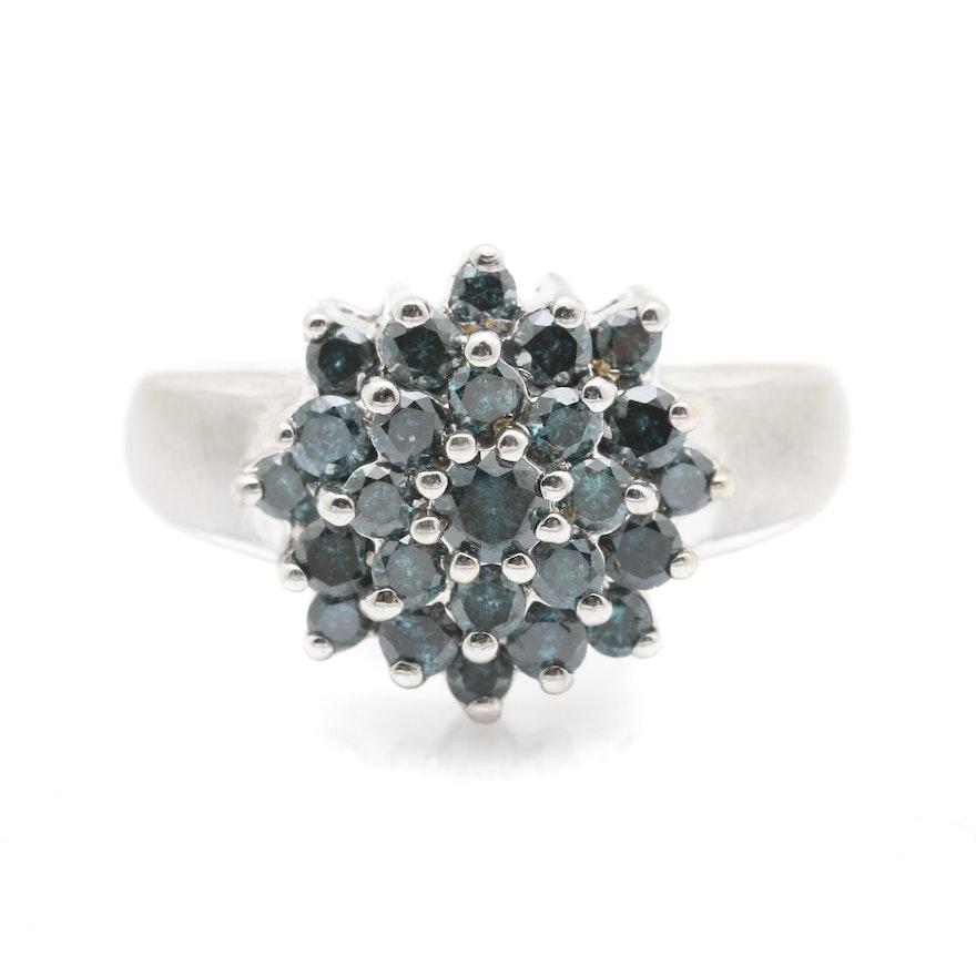 10K White Gold Irradiated Blue Diamond Cluster Ring : EBTH