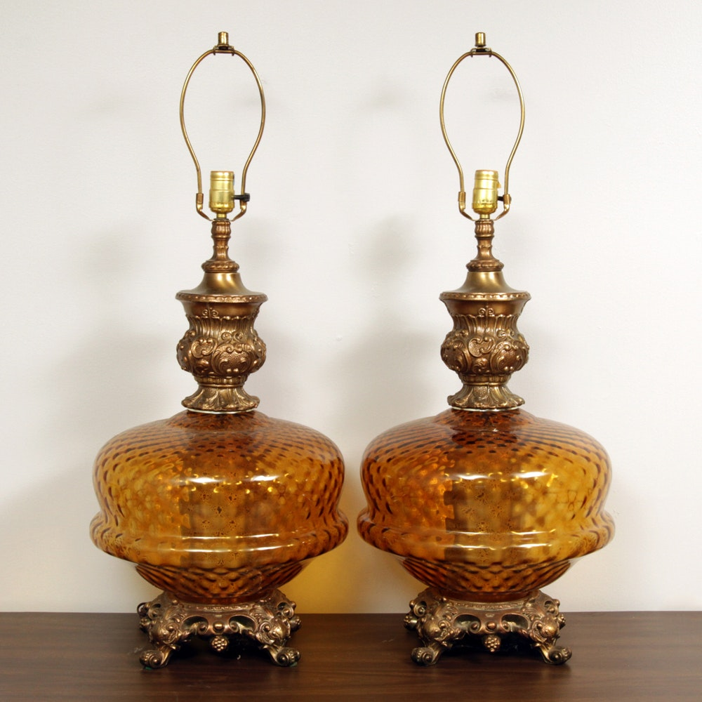 Substantial Vintage Hollywood Regency Style Amber Glass Lamps With  Nightlight ...