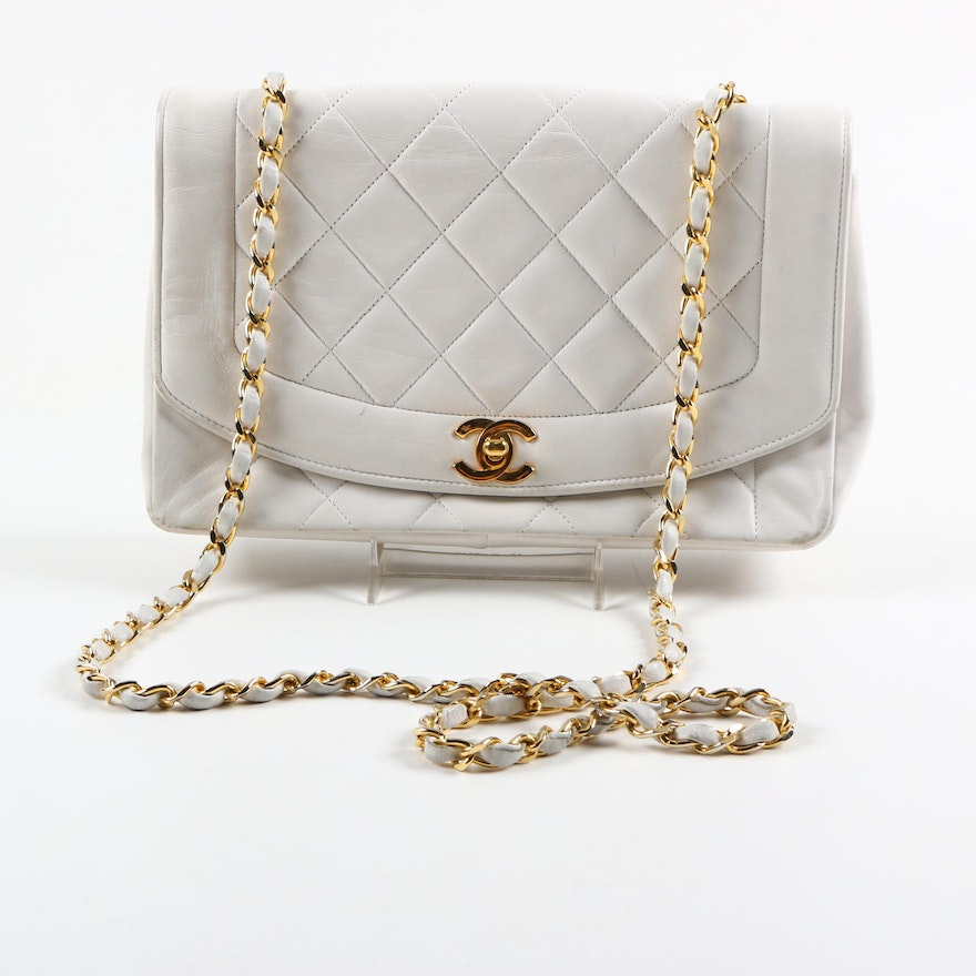 Vintage Chanel White Quilted Leather Handbag Ebth