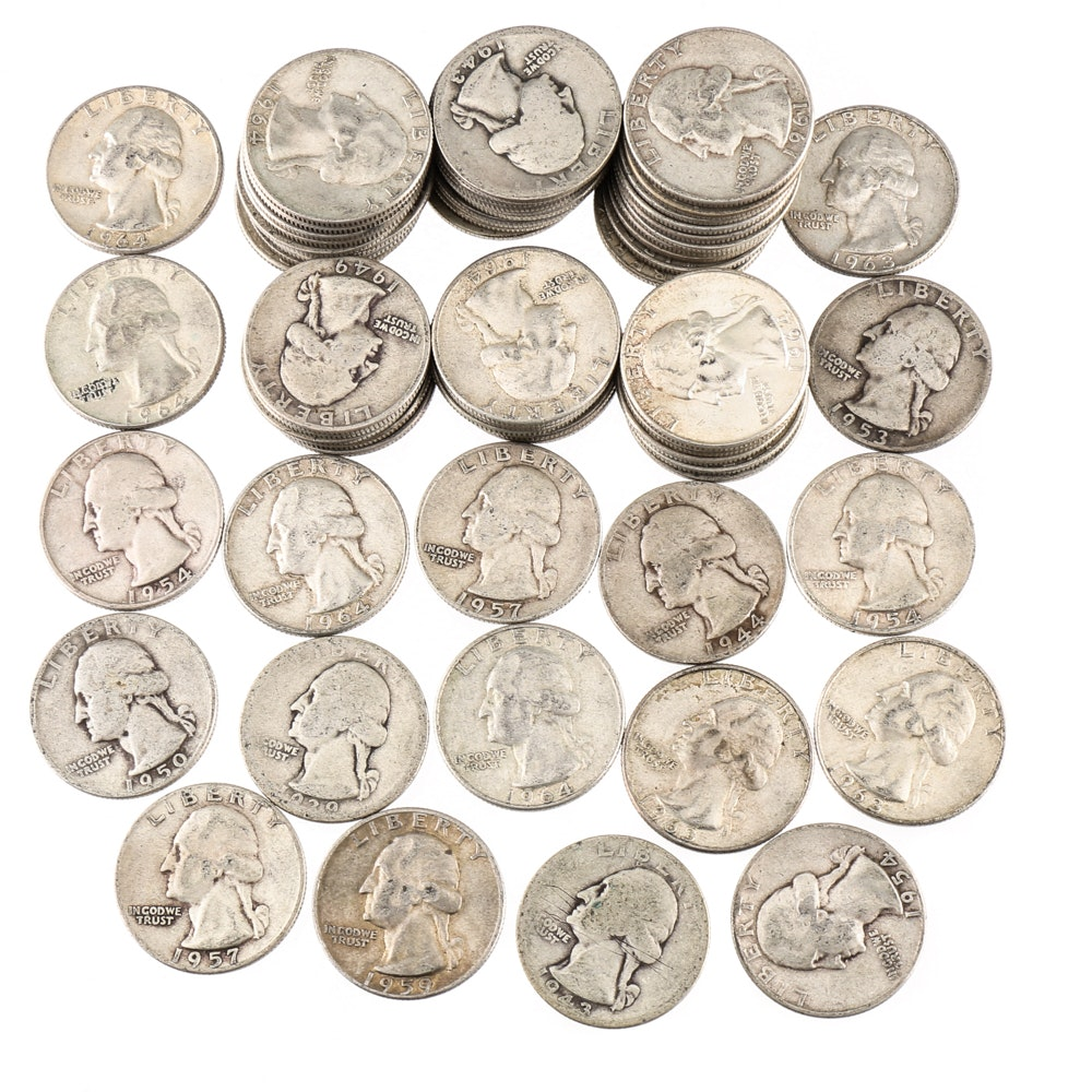 Sixty-Three Vintage Washington Silver Quarters