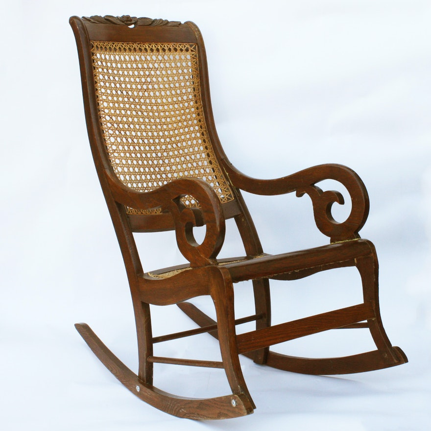 Early Victorian Lincoln Style Ash Rocking Chair Ebth