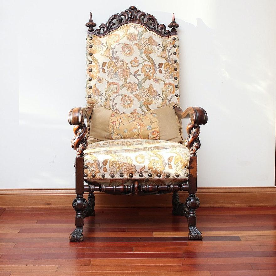 Antique Victorian Throne Chair : EBTH