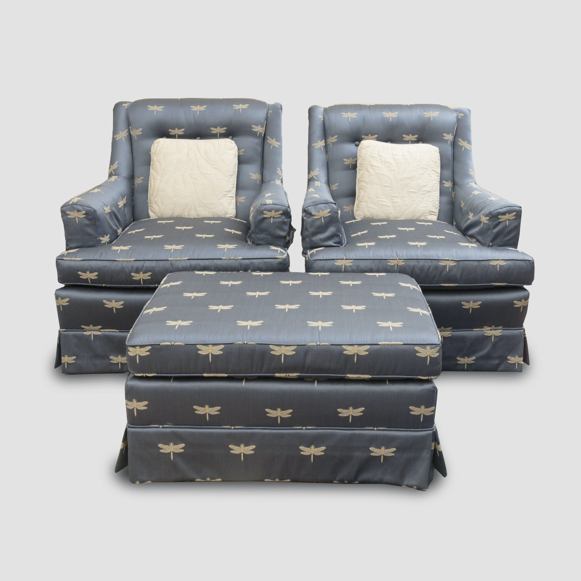 Dragonfly Upholstered Armchairs And Ottoman ...