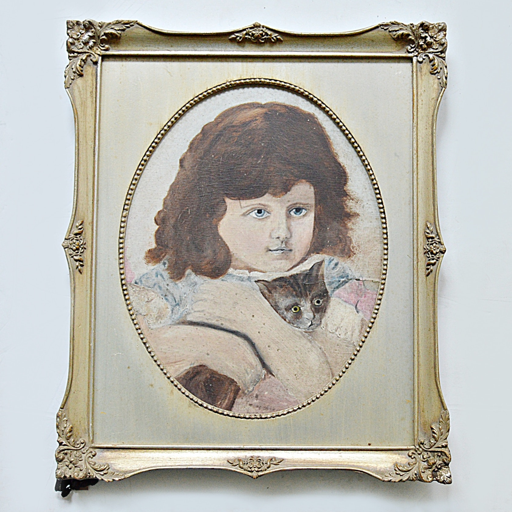 19th-Century Original Oil on Board Portrait of a Young Girl and a Cat
