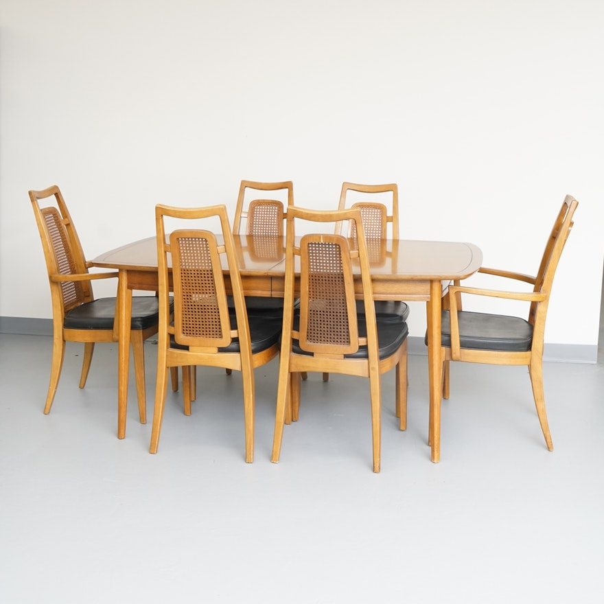 Mid Century Modern Dining Pecan Table And Caned Chairs By Drexel Ebth