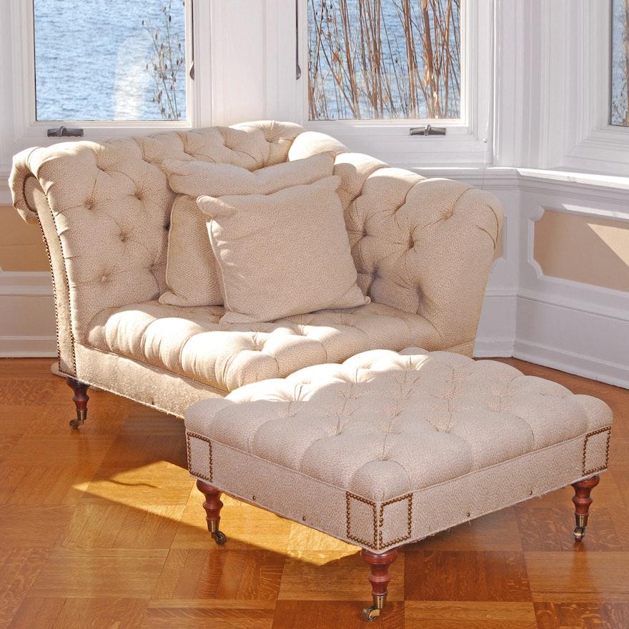 tufted corner chair with ottoman ebth
