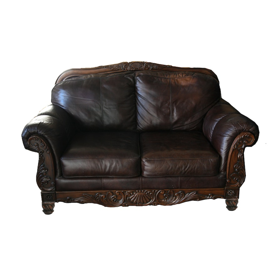 Victorian Style Leather Loveseat By Ashley Furniture Ebth