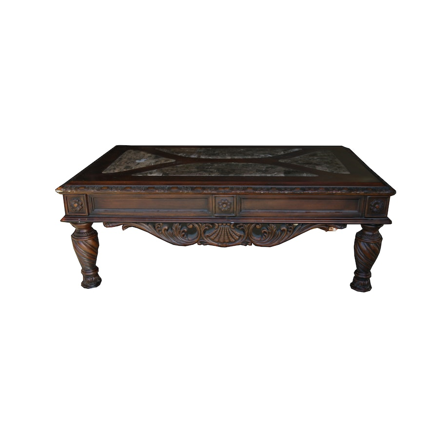 Victorian Style Mahogany Finished Coffee Table By Ashley Furniture Ebth
