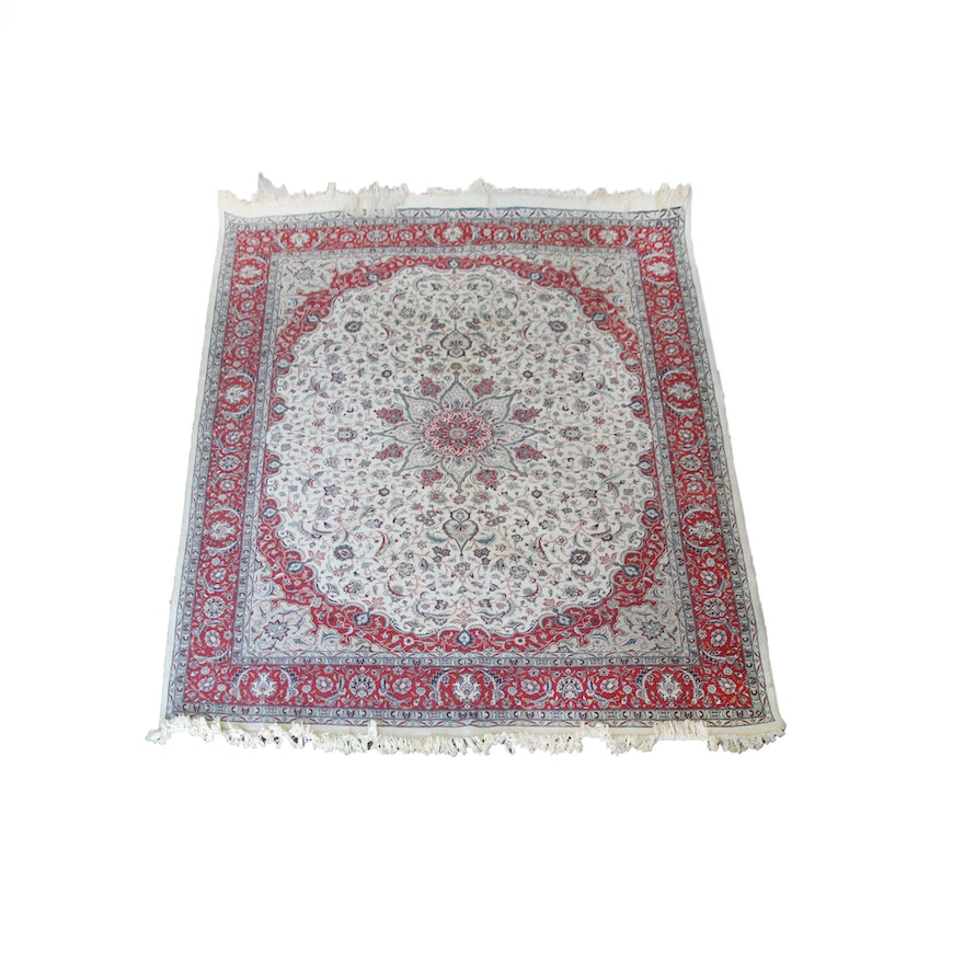 Hand Knotted Persian Wool Area Rug Ebth: Hand-Knotted Persian Isfahan Wool Area Rug : EBTH