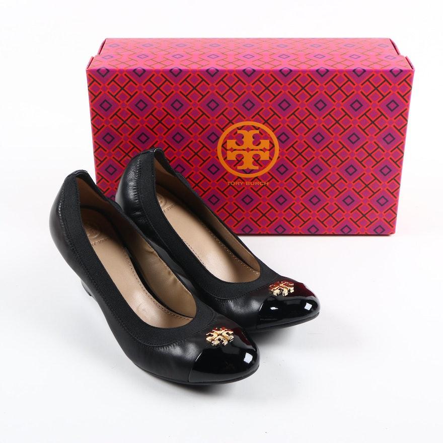 213ae33f8ac Tory Burch Jolie Black Leather Wedges   EBTH